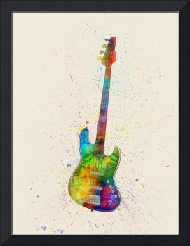 Electric Bass Guitar Abstract Watercolor