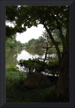 Japanese garden and lake
