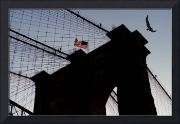 Brooklyn Bridge & Eagle Silhouette