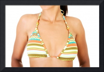 Perfect body, breast in a colorful bikini. Isolate