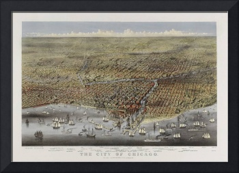 Birdseye view of the City of Chicago, c1870
