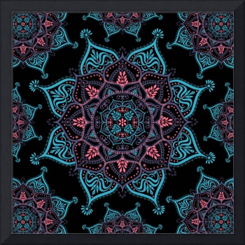 Boho Bliss Blue Purple Pink Mandala
