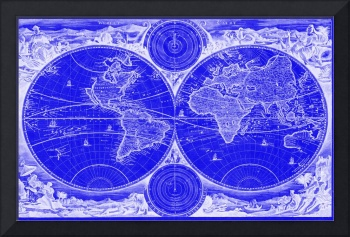 World Map (1730) Blue & White