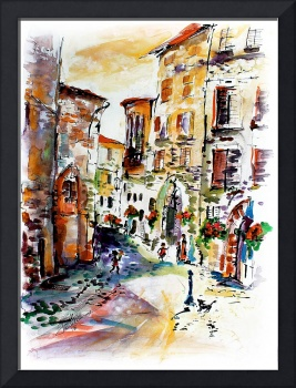 Old Town Assisi Italy Watercolor