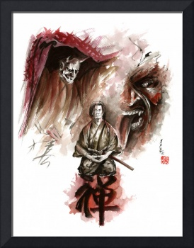 Samurai painting zen meditation deamons of mind ca
