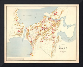 Vintage Map of Moss Norway (1904)