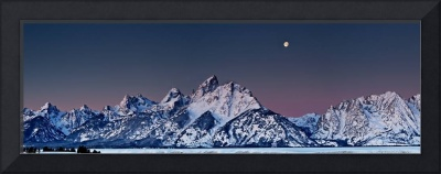 Sunrise Moon Over Grand Tetons