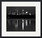 Lake Calhoun Minneapolis Skyline Night BW by Wayne Moran