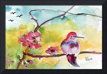 Hummingbirds & Pink Blossoms Watercolor Ginette