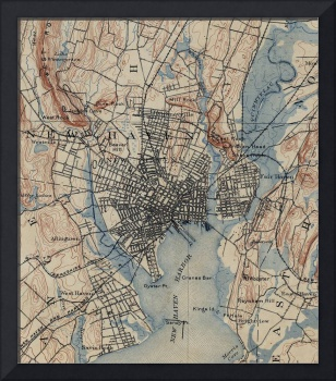 Vintage Map of New Haven Connecticut (1890)
