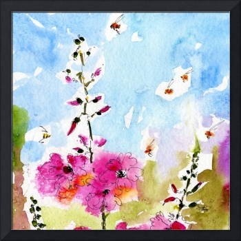 Pink Flowers Square Watercolor & Ink by Ginette