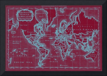 World Map (1766) Red & Light Blue