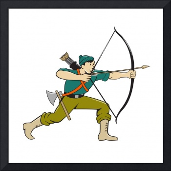Archer Aiming Long Bow Arrow Cartoon