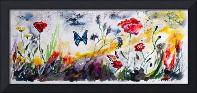Panoramic Poppies and Butterflies Watercolor