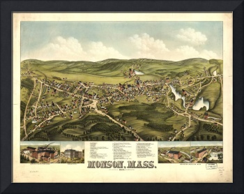 1879 Monson, MA Birds Eye View Panoramic Map
