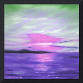 Green Skies and Purple Seas Abstract Sunset