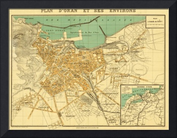Vintage Map of Oran Algeria (1913)