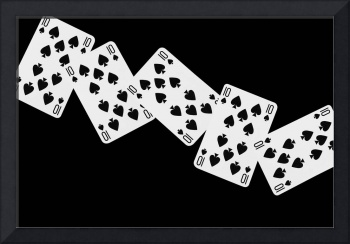Playing Cards Ten of Spades on Black Background