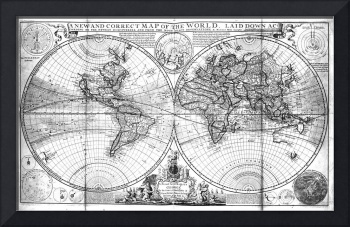 Black and White World Map (1736)
