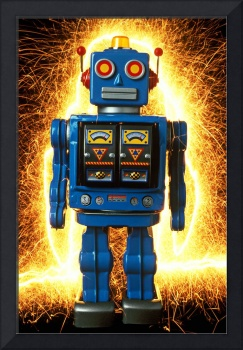 Blue robot with sparks