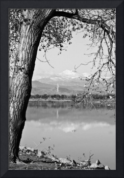 Colorado Twin Peaks Reflections in Black and White