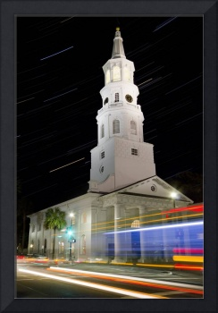 Star Trails Over St Michaels Church Charleston SC