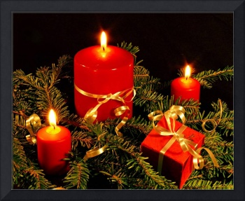 Red Christmas Candles And Gold