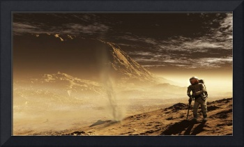 A lone astronaut drills into the regolith of Gale