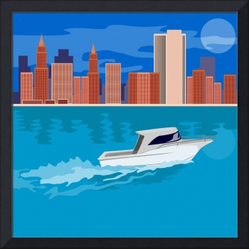 Skycrapers with Speedboat
