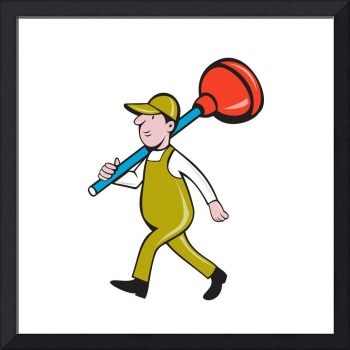 Plumber Carrying Plunger Walking Isolated Cartoon