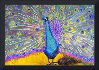 Peacock Dance, Purple Green Blue Peacock Decor