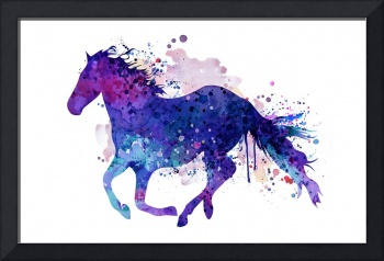 Running horse watercolor silhouette