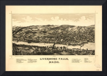 1889 Livermore Falls, ME Bird's Eye View Panoramic