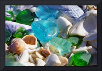 Seaglass Shells Blue Green Sea Glass Art Prints