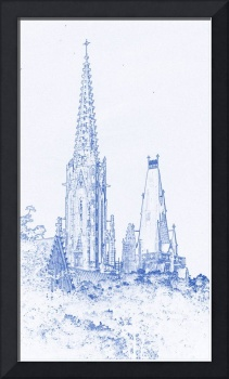 Blueprint Drawing - Cathedral in Poland