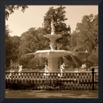 Forsyth Park Fountain Square in Sepia