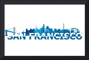 San Francisco Skyline Scissor Cut Giant Text
