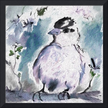 Little Bird Baby Blue Square Art
