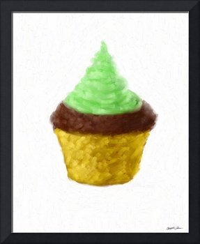Green Frosted Chocolate Cupcake