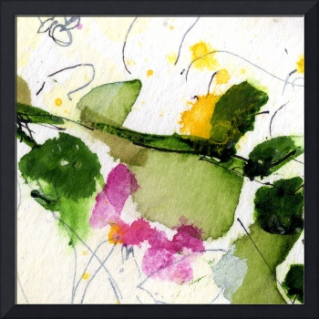 Abstract Blossom #2 Square Format WC by Ginette