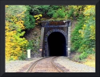 Pitch Black Train Tunnel