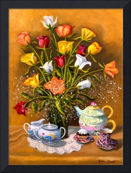 FLORAL WITH CHINA & CERAMIC OBJECTS