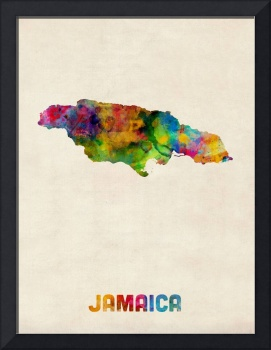 Jamaica Watercolor Map