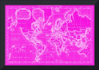 World Map (1766) Pink & White