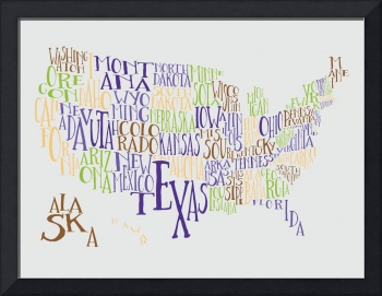 Lemon Lime Grape US Typography Map