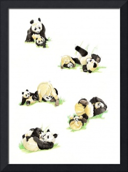 Mommy Panda and  her cub playing together