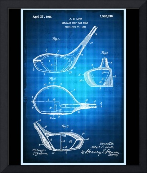 Golf Club Patent Blueprint Drawing