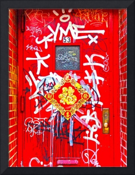 Chinese Door Front With Graffiti