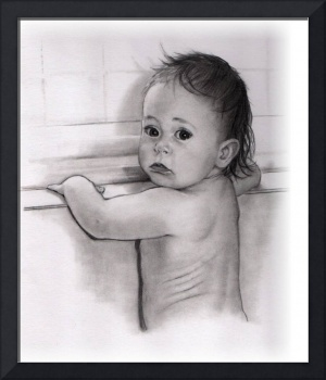 Toddler Girl By The Bathtub