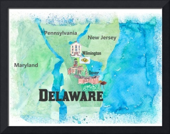 USA Delaware State Travel Poster Map with Touristi